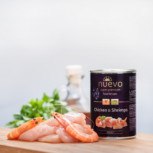 Nuevo Cat Chicken and Shrimps - с пилешко месо и скариди - 400 гр - 789361