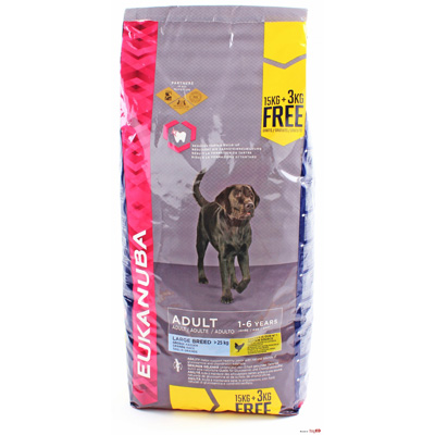 Eukanuba Large Breed Adult, 15 кг с 3 кг ПОДАРЪК - PROMO
