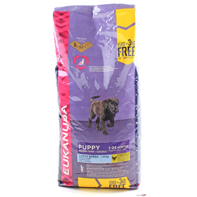 Eukanuba Large Breed Puppy & Junior, 15 кг с 3 кг ПОДАРЪК